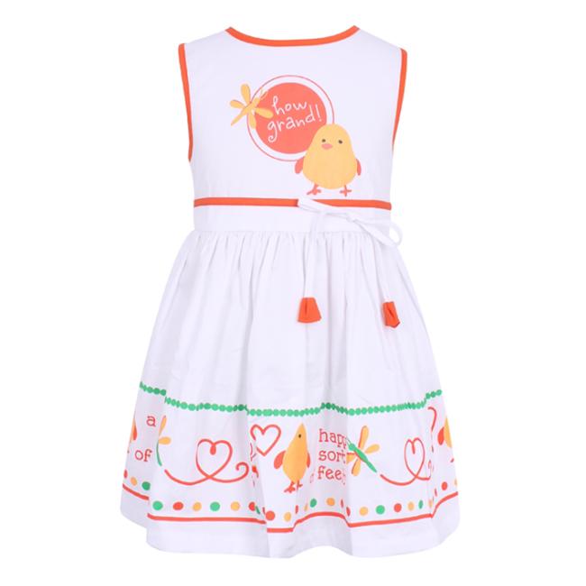 Đầm Bé Gái Phối Họa Tiết VTA Kids BG60804 - Trắng