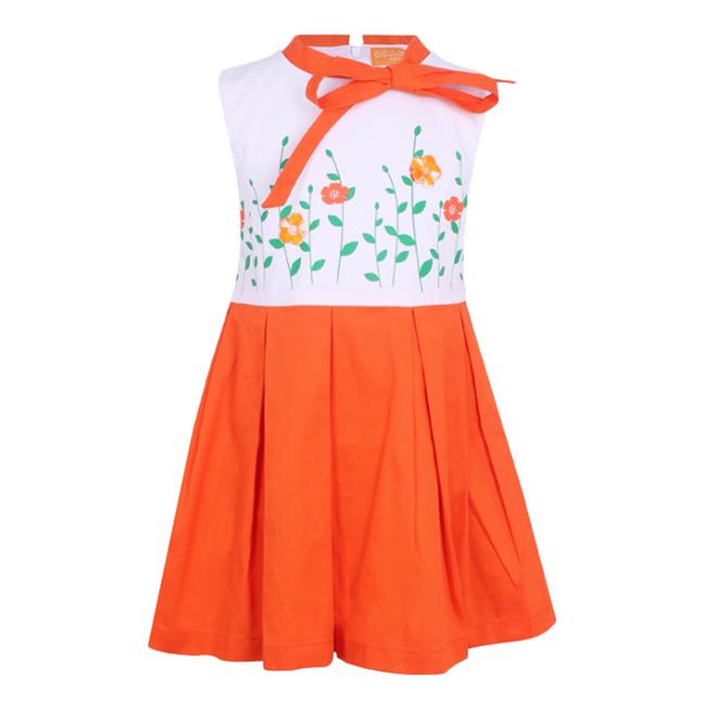 Đầm Bé Gái Phối Hoa VTA Kids BG60809 - Cam
