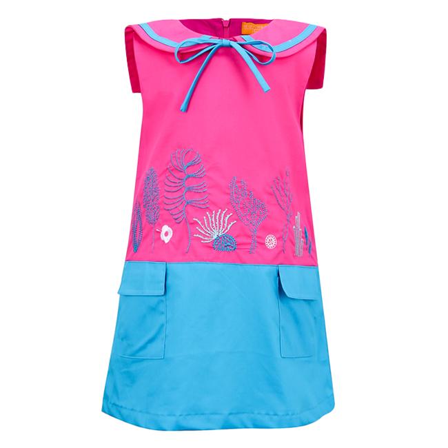 Đầm Thêu Họa Tiết Biển VTA Kids BG70101 - Hồng
