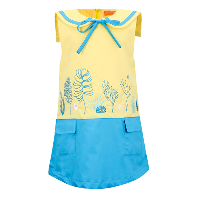 Đầm Thêu Họa Tiết Biển VTA Kids BG70101 - Vàng