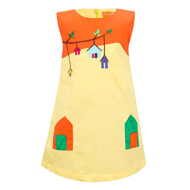 Đầm Thêu Họa Tiết Nhà VTA Kids BG70102 - Vàng