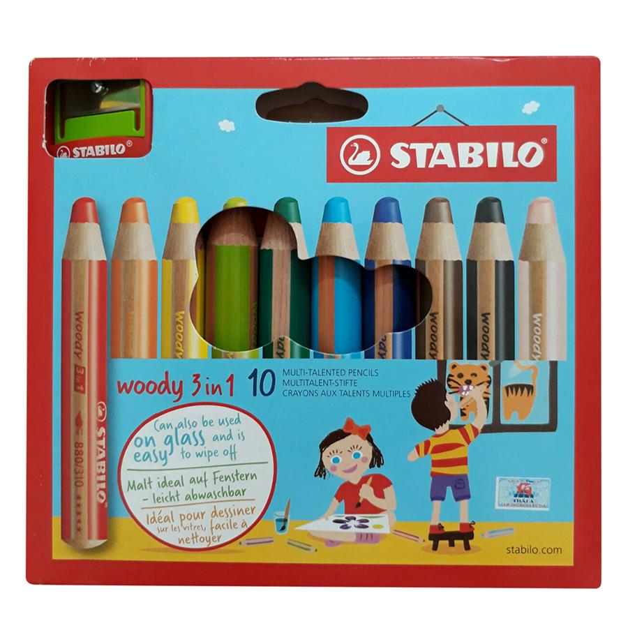 Bộ Bút Chì Màu Stabilo Woody 3-in-1 CLK880-10C