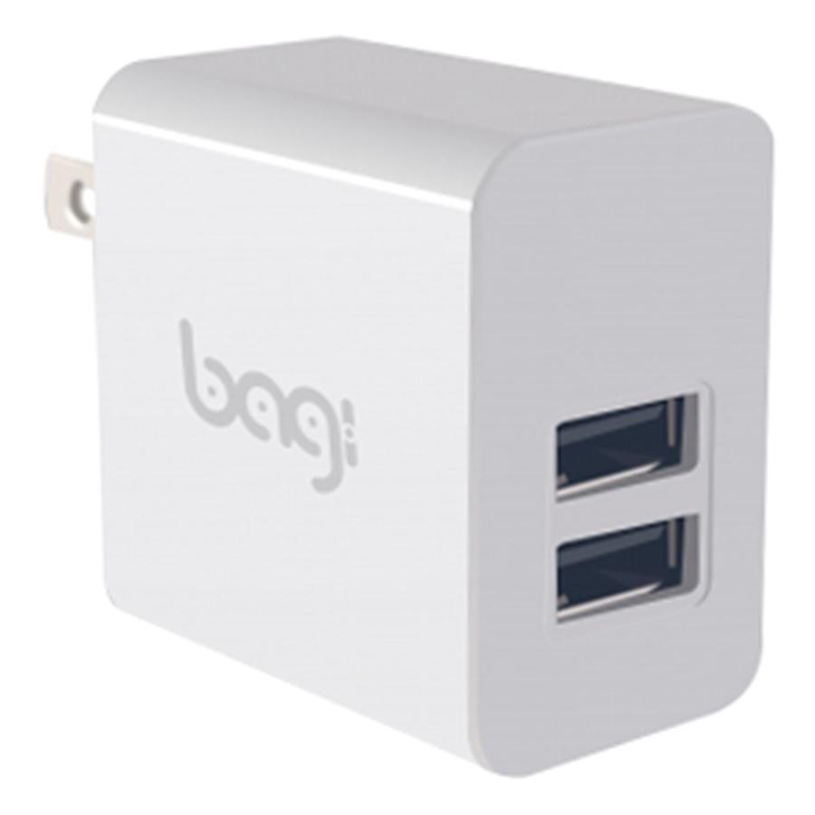 Cốc Sạc Nhanh 2 Cổng USB Bagi (3A) - Trắng - Hàng Chính Hãng