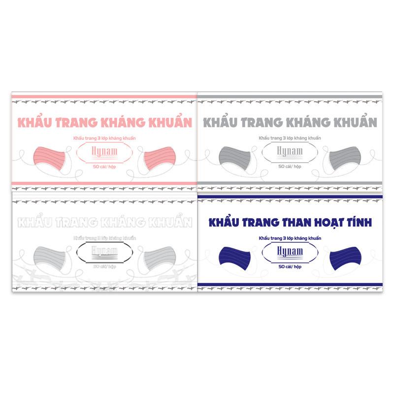 Combo 4 Hộp Khẩu Trang Kháng Khuẩn Hy Nam (Hộp 50 Tờ) - Hồng - Trắng - Xám - Đen