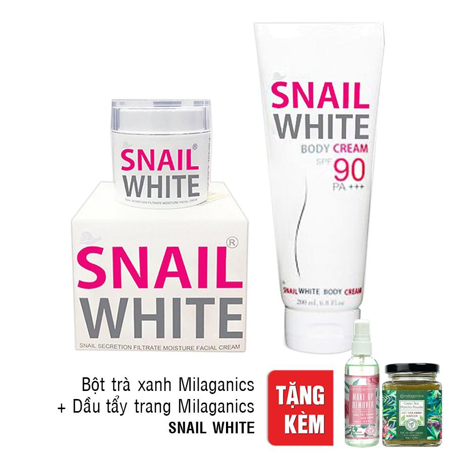 Combo Kem Dưỡng Trắng Da Mặt Snail White Facial (30g) Và Kem Dưỡng Thể Trắng Da Toàn Thân Snail White Body Cream (200ml) Tặng...