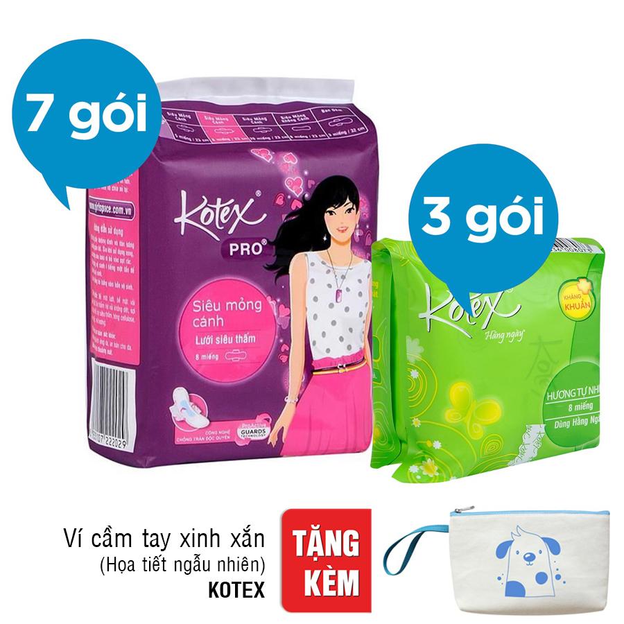 Bộ 10 Gói Băng Vệ Sinh Kotex: 7 Kotex Pro + 3 Kotex Liner KK
