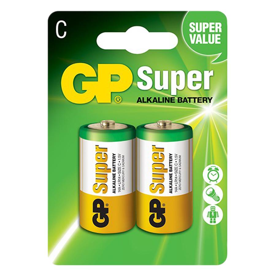 Pin Super GP GP14A-2U2 Alkaline C (2 Viên/Vỉ)