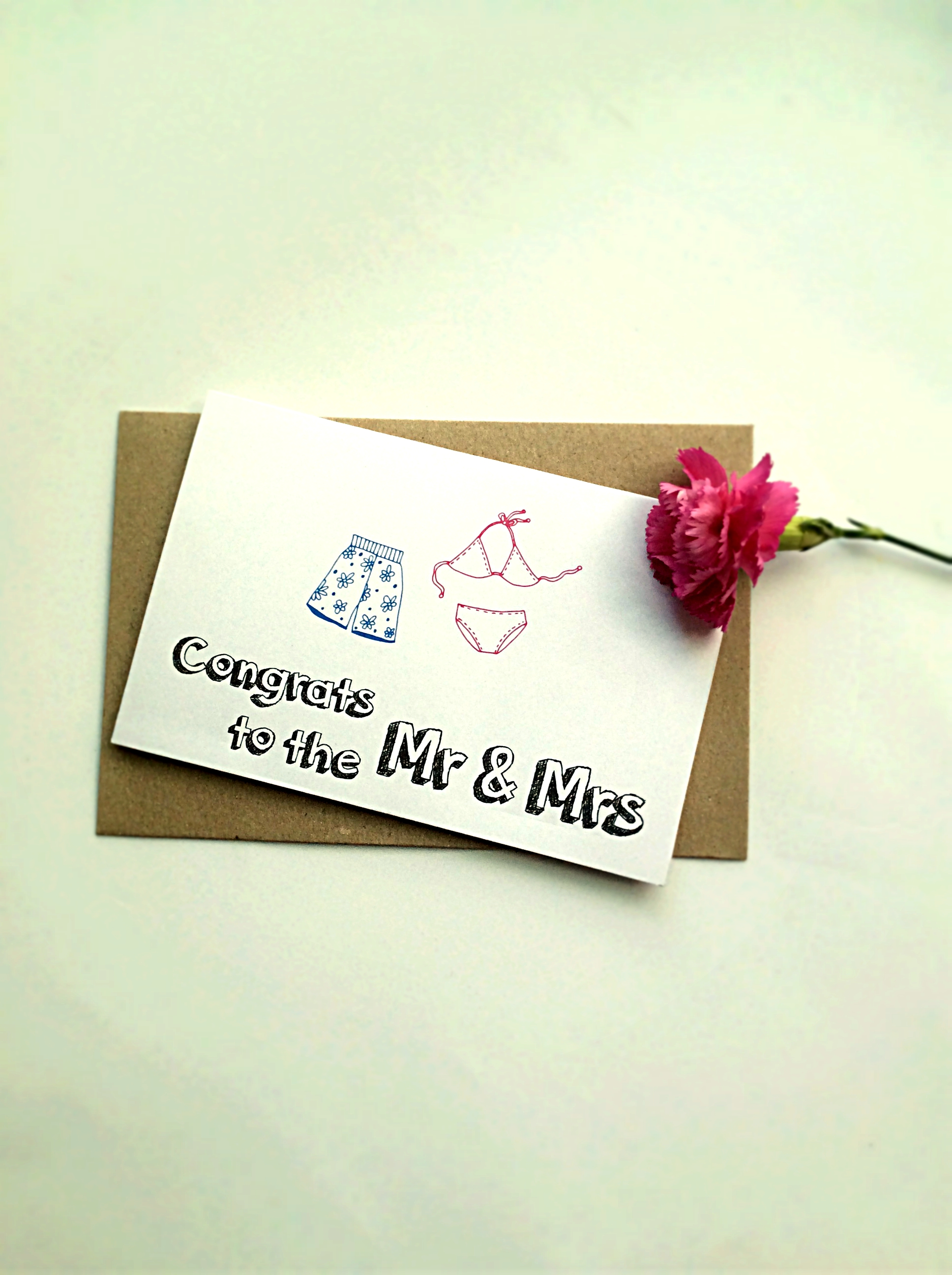 Thiệp Papermix Congrats To The Mr  Mrs - W06 (Trắng)