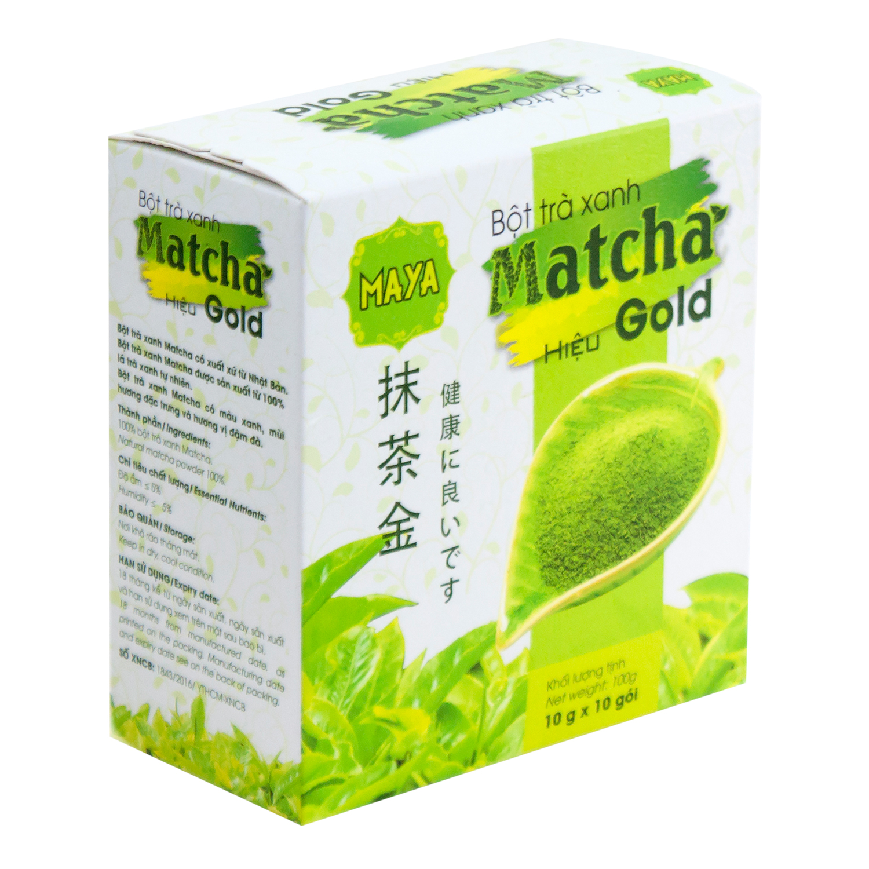 Bột Trà Xanh Matcha Hiệu Gold Cocoa Indochine (Hộp 10 Gói x 10g)