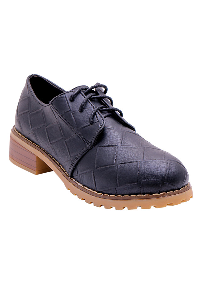 Giày Oxford Da Thắt Dây Mozy - MZOF06-Đen