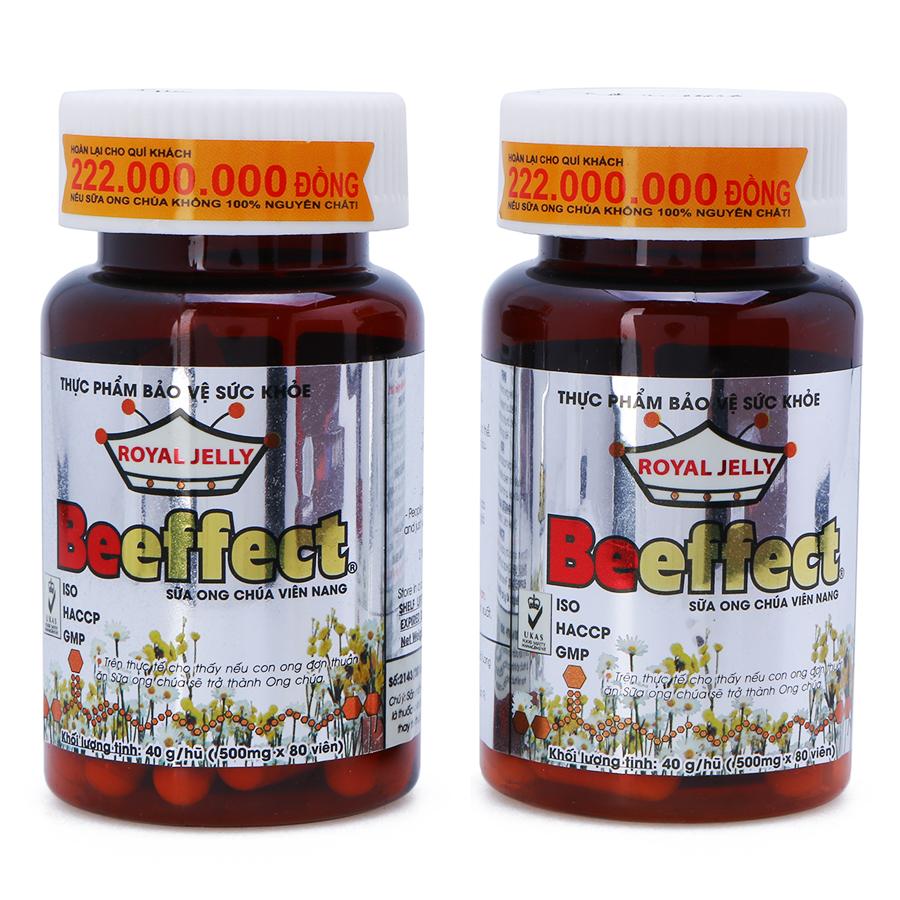 Thực Phẩm Chức Năng Hộp 2 Hũ Sữa Ong Chúa Viên Nang Beeffect (80 viên x 500mg / Hũ)