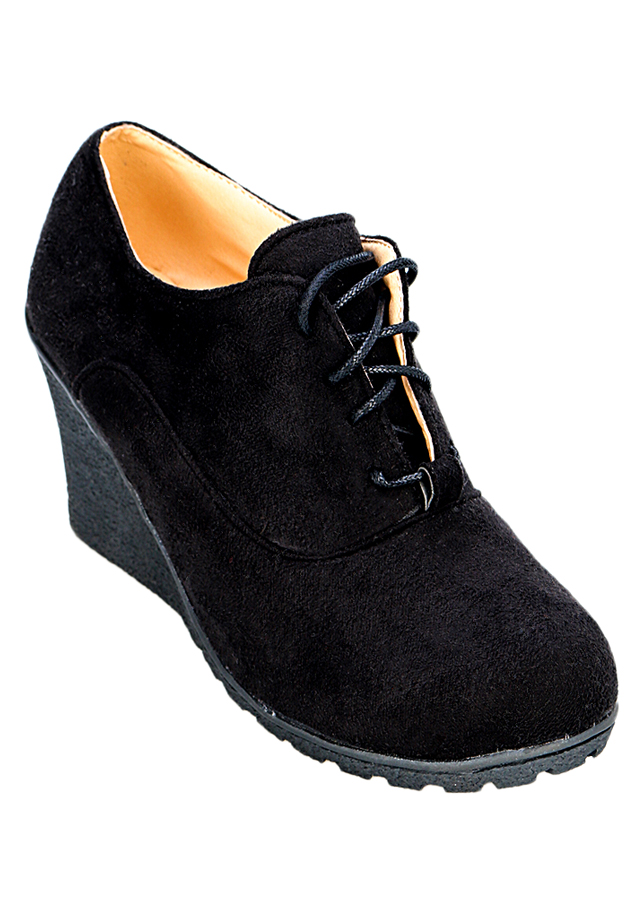 Giày Bốt Đế Xuồng Da Lộn Thắt Dây Mozy - MZB07-Đen
