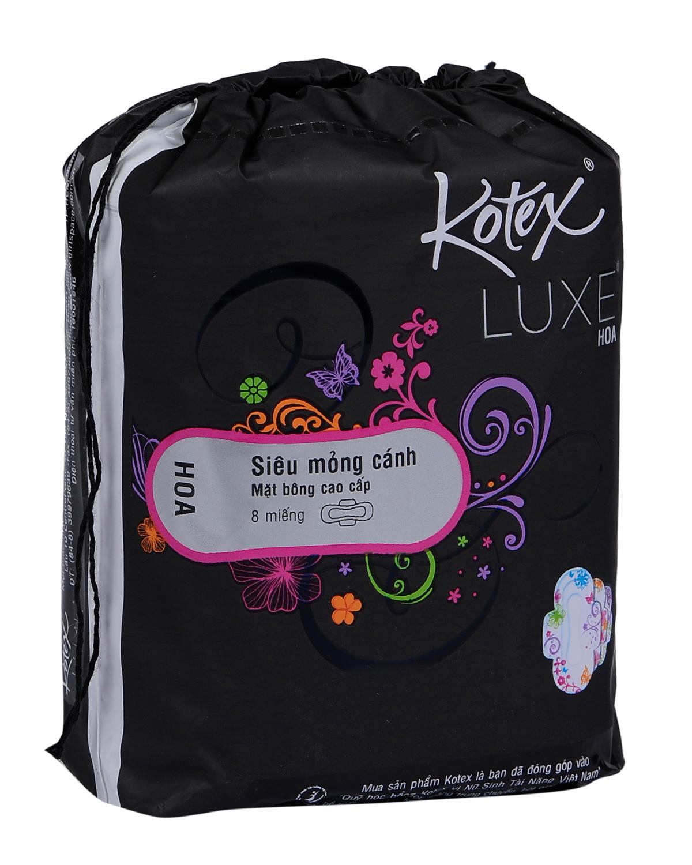 Băng Vệ Sinh Cao Cấp Kotex Luxe Hoa Lưới Siêu Thấm – Siêu Mỏng Cánh 8 Miếng (8 x 48)