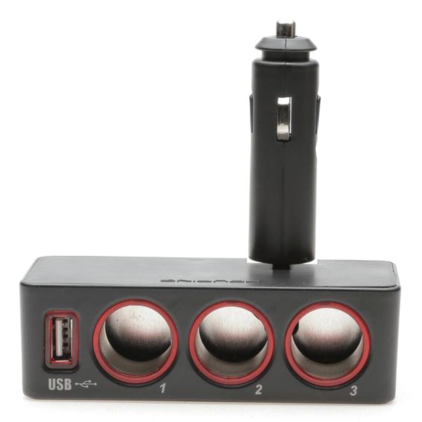 Đầu Chia BL 3 Lỗ Không Dây Có Đèn + USB Fouring DA631 - Đen Viền Đỏ