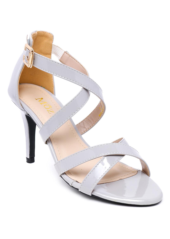 Giày Sandal Da Bóng 2 Quai Chéo Mozy - MZSD020.1-Xám