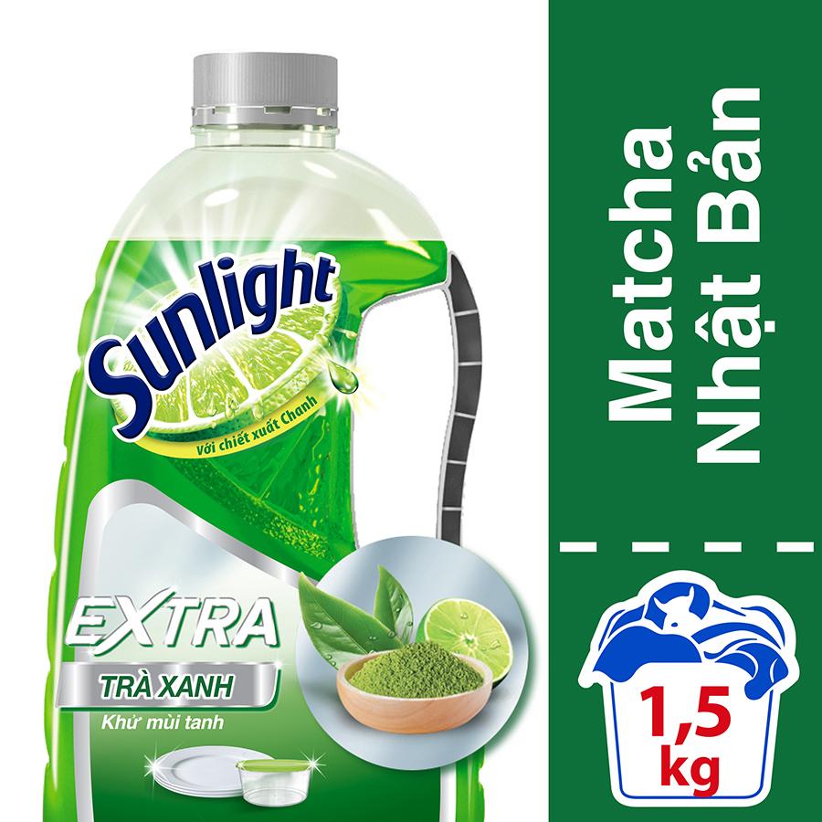 Nước Rửa Chén Sunlight Trà Xanh Dạng Chai  1.5kg