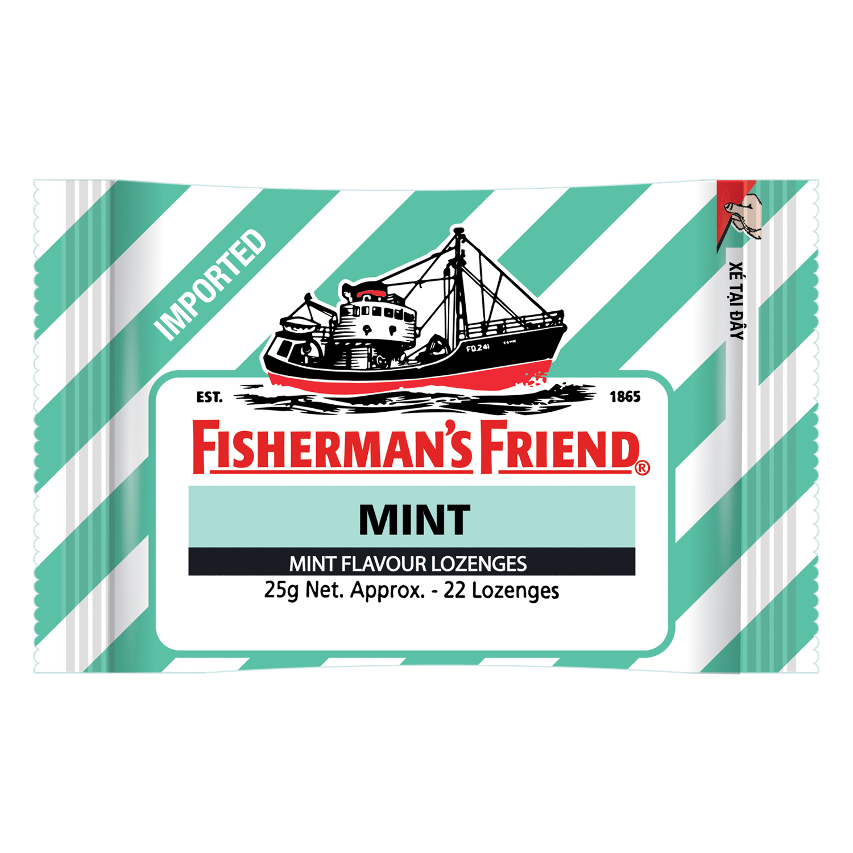 Kẹo Cay Con Tàu Fisherman's Friend Vị Bạc Hà Gói 25g