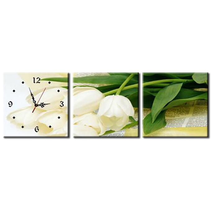 Tranh Đồng Hồ Vicdecor DHT0090 - Tulip Trắng