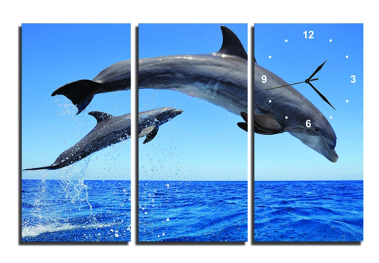 Tranh Đồng Hồ Vicdecor DHT0124 - Cá Heo Và Biển