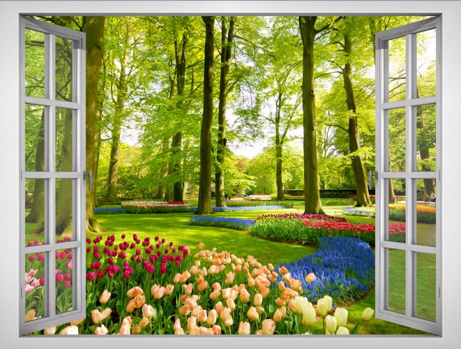Tranh Dán Tường Lunawall Cửa Sổ 3D Vườn Hoa Đẹp VT0033B