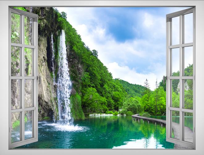 Tranh Dán Tường Lunawall Cửa Sổ 3D Cảnh Thiên Nhiên Đẹp VT0153B