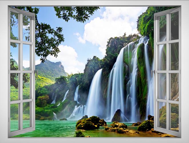 Tranh Dán Tường Lunawall Cửa Sổ 3D Cảnh Thiên Nhiên Đẹp VT0157B