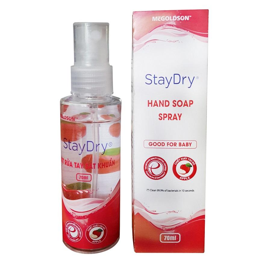 Xịt rửa tay sát khuẩn StayDry 70ml ( Hương Táo )
