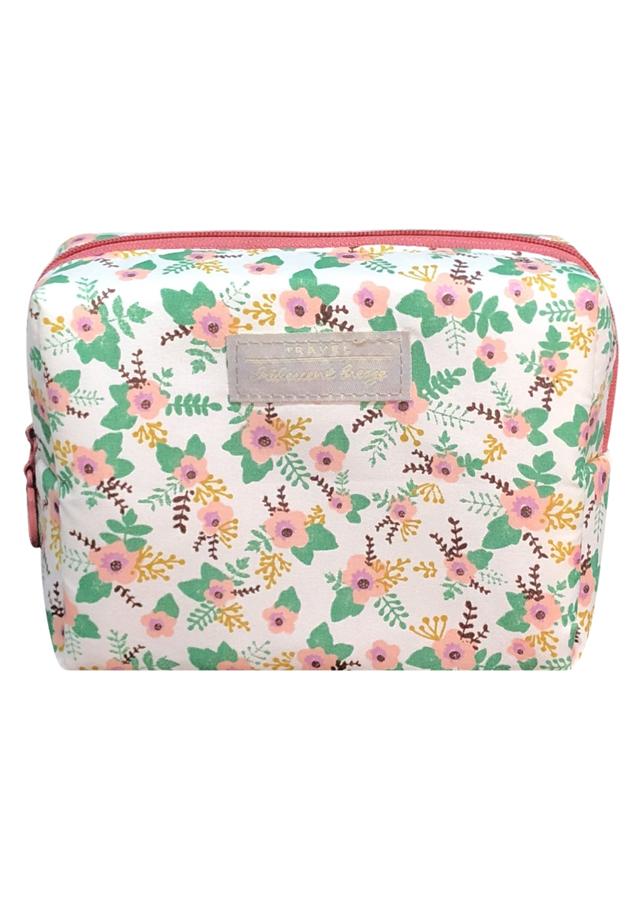 Túi Đựng Đồ Trang Điểm Họa Tiết Hoa TNTT0112 (16 x 12 cm) - Trắng