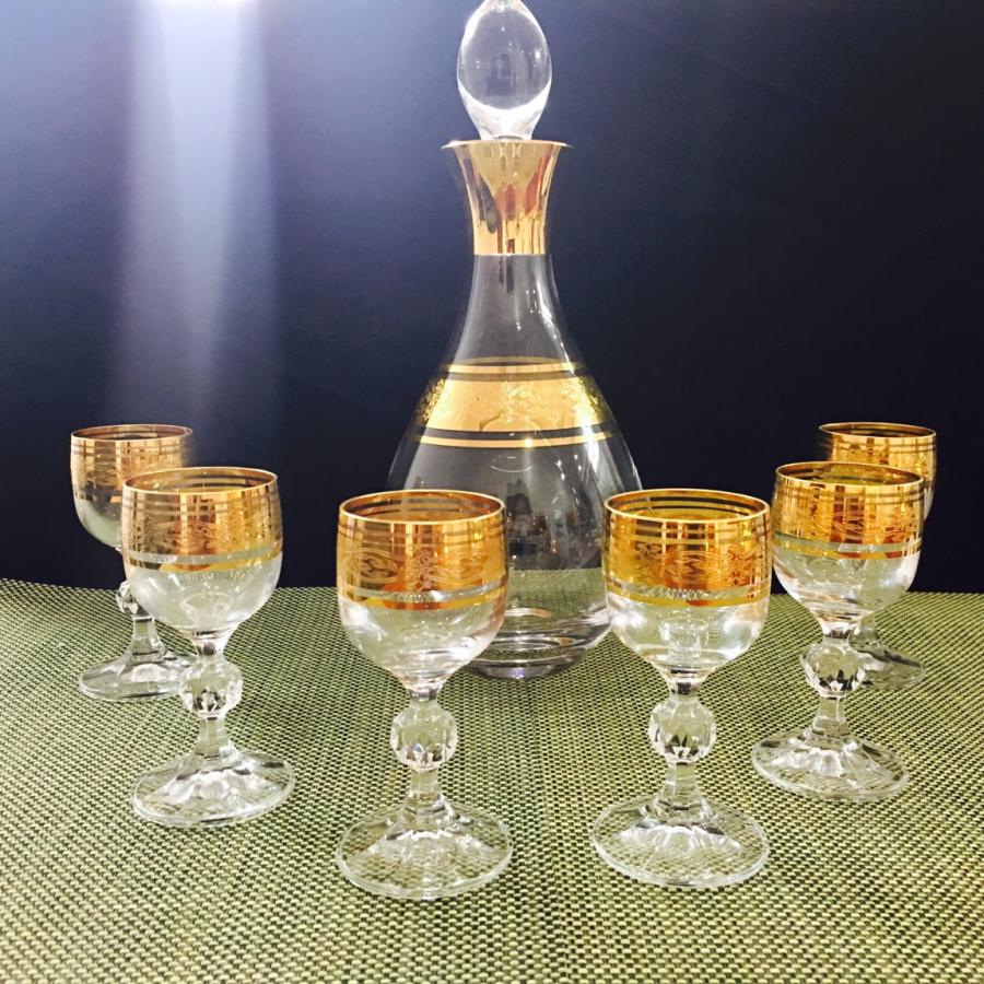 Bộ Bình Rượu Và 6 Ly Pha Lê Mạ Vàng 750ml/Ly 50ml