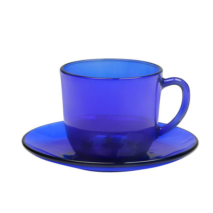 Bộ 6 tách và dĩa thủy tinh chịu lực Duralex lys saphir 220 ml
