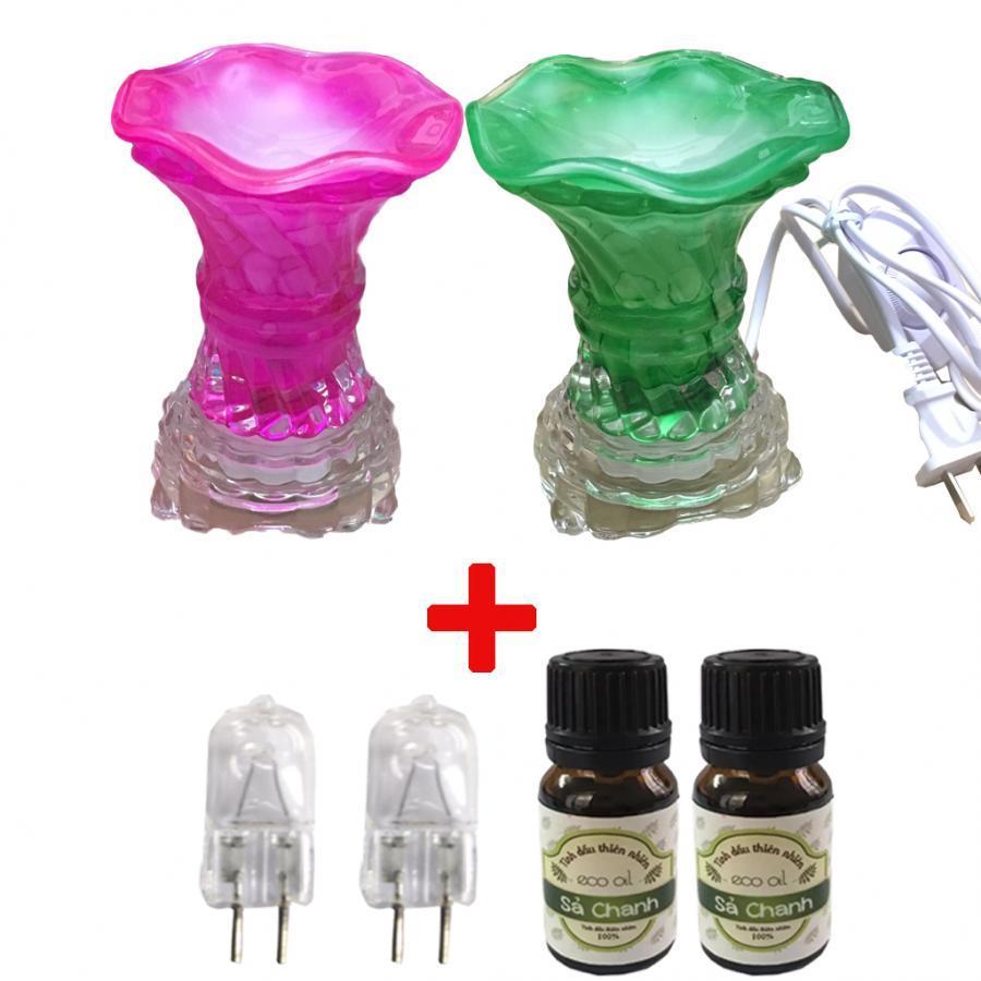 Combo 2 Đèn xông tinh dầu thủy tinh vặn kèm 2 chai tinh dầu sả chanh và 2 bóng đèn (Giao mầu ngẫu nhiên)