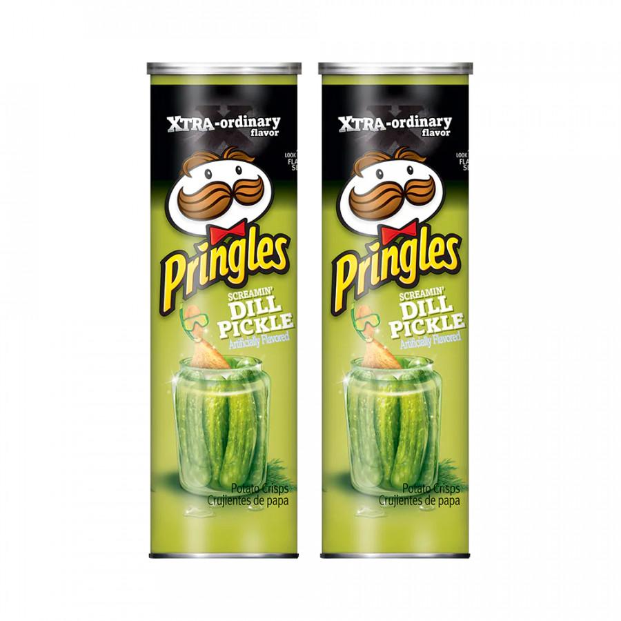 Bộ 2  Khoai tây chiên Pringles Screamin Dill Pickle 158g - Nhập khẩu Mỹ