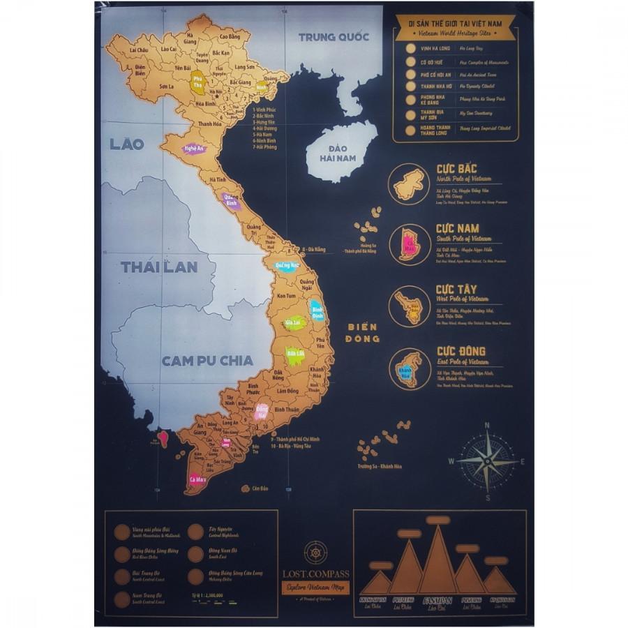 Bản đồ cào Việt Nam phiên bản Vàng - Vietnam Scratch Map Gold Deluxe Edition