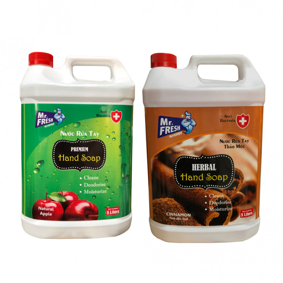 Combo 2 can Nước rửa tay khử mùi Mr.Fresh 5L Hương Quế  Hương Táo (5l/can)