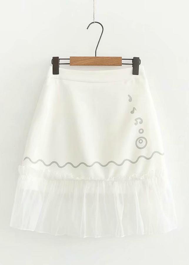 Chân Váy Nữ Đuôi Cá Phối Lưới Họa Tiết Xinh GV502 - Trắng (Free Size)