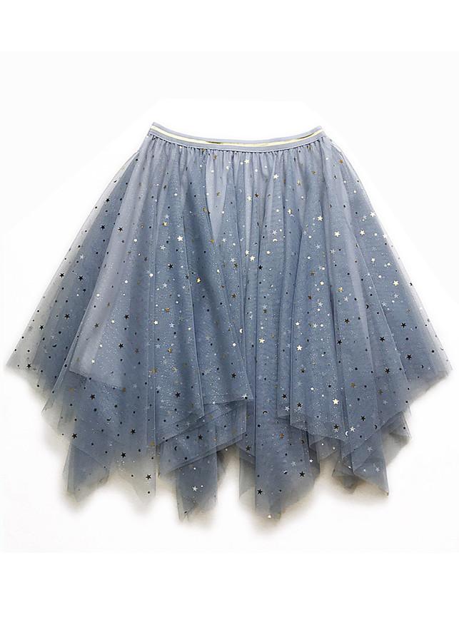 Chân váy ngắn tulle xòe tròn dáng nhọn ren sao