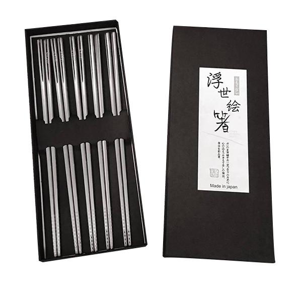 2 bộ 5 đôi đũa inox đặc ruột - Tặng bát inox ăn cơm nội địa Nhật Bản