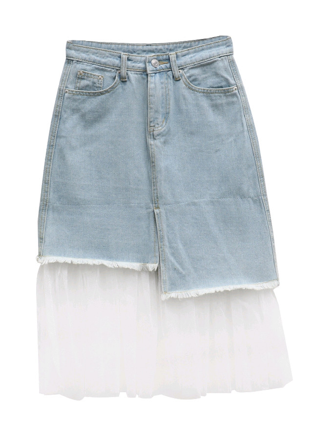 Chân váy midi jean bất đối xứng phối ren xanh - CV019