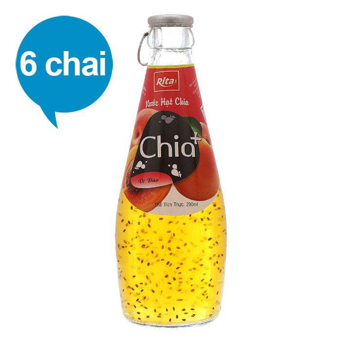 Nước Hạt Chia Vị Đào - Chia+ (6 Chai x 290ml)