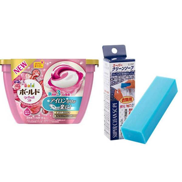 Combo Hộp 18 viên nước giặt xả hương hoa + Xà phòng thanh giặt cổ áo nội địa Nhật Bản