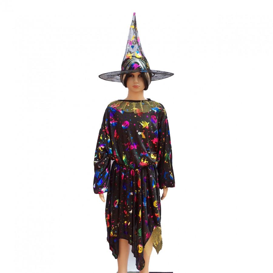 Bộ váy phù thủy kèm mũ cho bạn 4-8 tuổi hóa trang Halloween