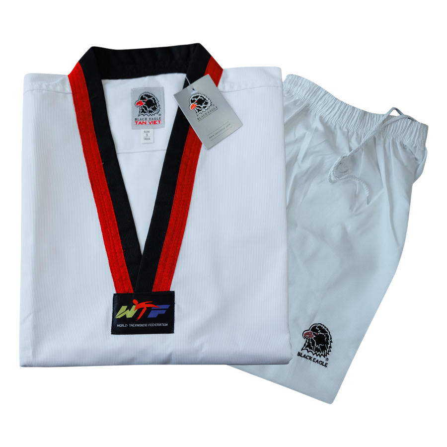 Võ Phục Taekwondo Black Eagle Cổ Đỏ Đen Vải Sọc DPVTTAECDDVSBE - Trắng