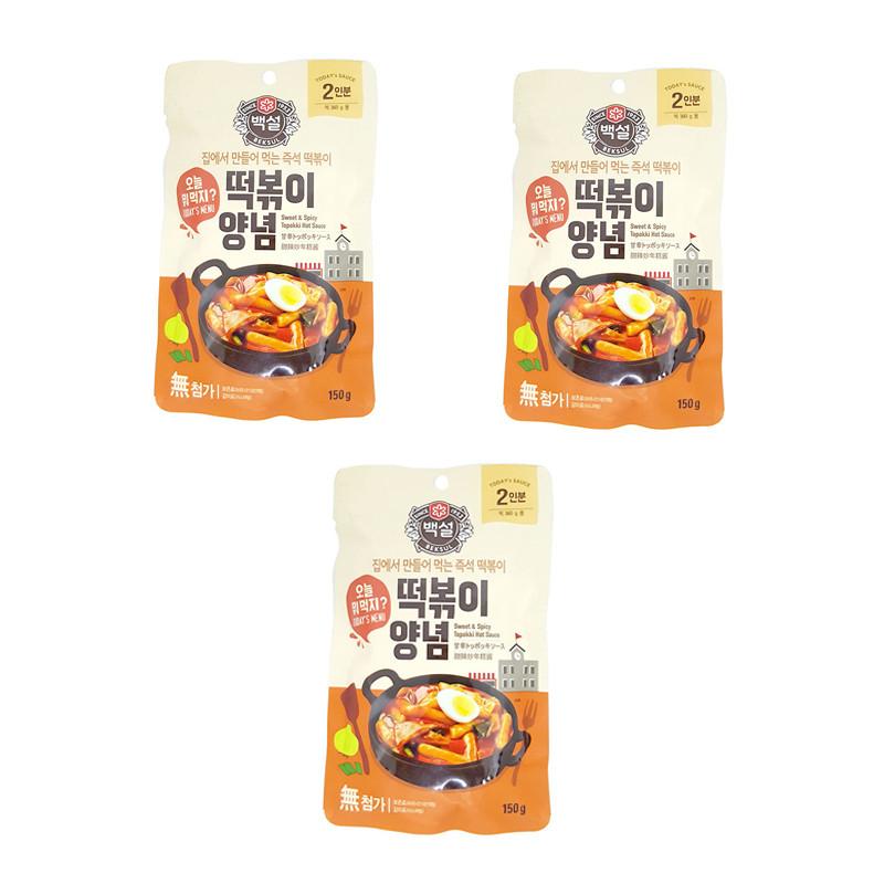 Combo 3 Gói Sốt Nấu Bánh Gạo Cay Ngọt Tokbokki Beksul (150g/gói) - Nhập Khẩu Hàn Quốc