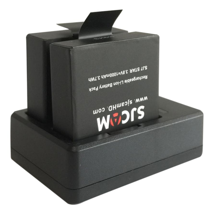 Sạc Pin Đôi SJCAM + 2 Viên Pin Cho SJcam SJ4000 Wifi SJ5000 M10 (900mAh)