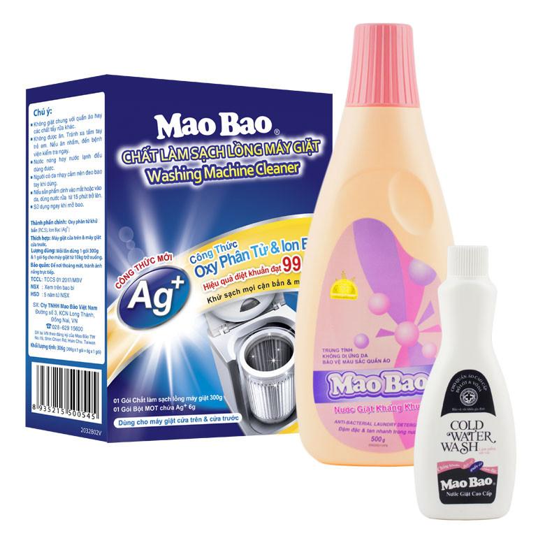 Combo 1 Hộp Chất Làm Sạch Lồng Giặt + 1 Chai Nước Giặt Kháng Khuẩn Mao Bảo 500ml - Tặng Nước Giặt Cao Cấp 82g