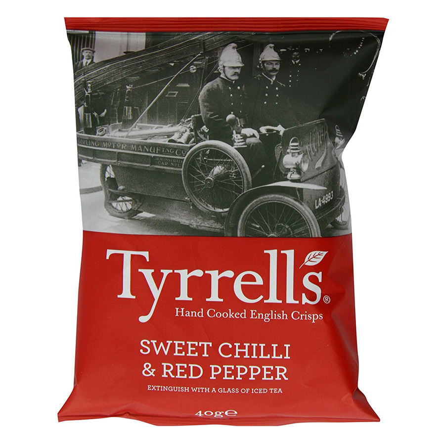 Khoai Tây Chiên Tyrrells Sweet Chilli Red Pepper Hand Cooked Crips (40g)