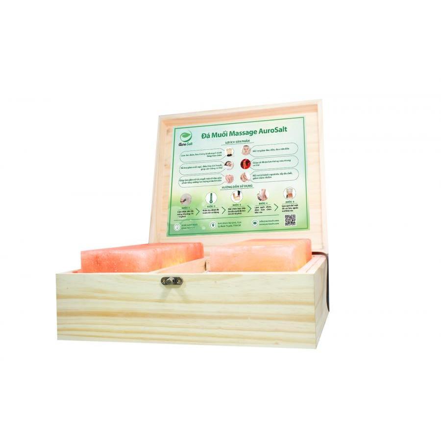 Hộp Đá Muối Massage chân Aurosalt kích thước lớn 25*25 - 2 viên phẳng