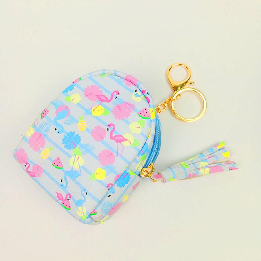 Móc khóa túi ví balo mini da PU - con hạc hồng màu xanh da trời