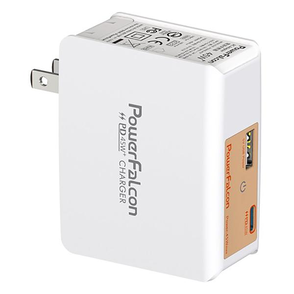 Cục Sạc Powerfalcon 45W PD Dual Port (USB-C+USB-A) Charger / Foldable