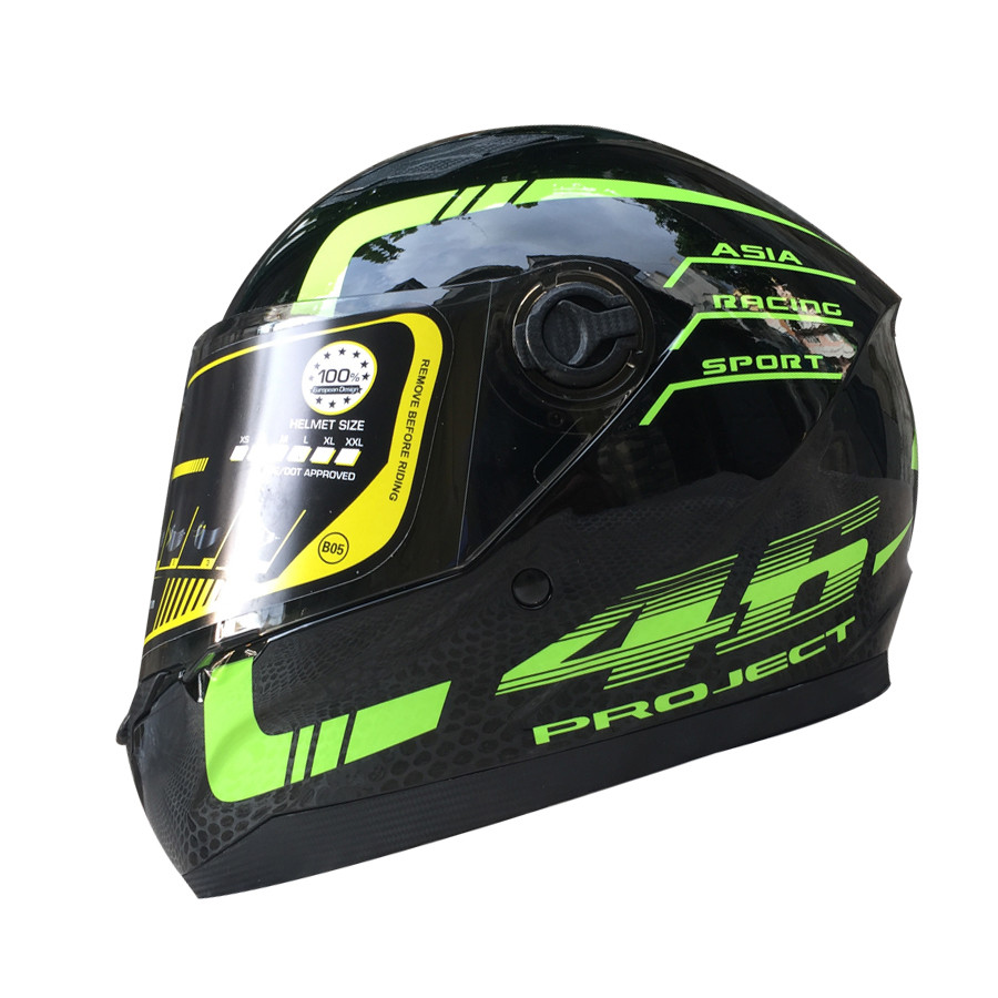 Mũ bảo hiểm Fullface Asia MT136 (Size L) - Tem 46 xanh lá